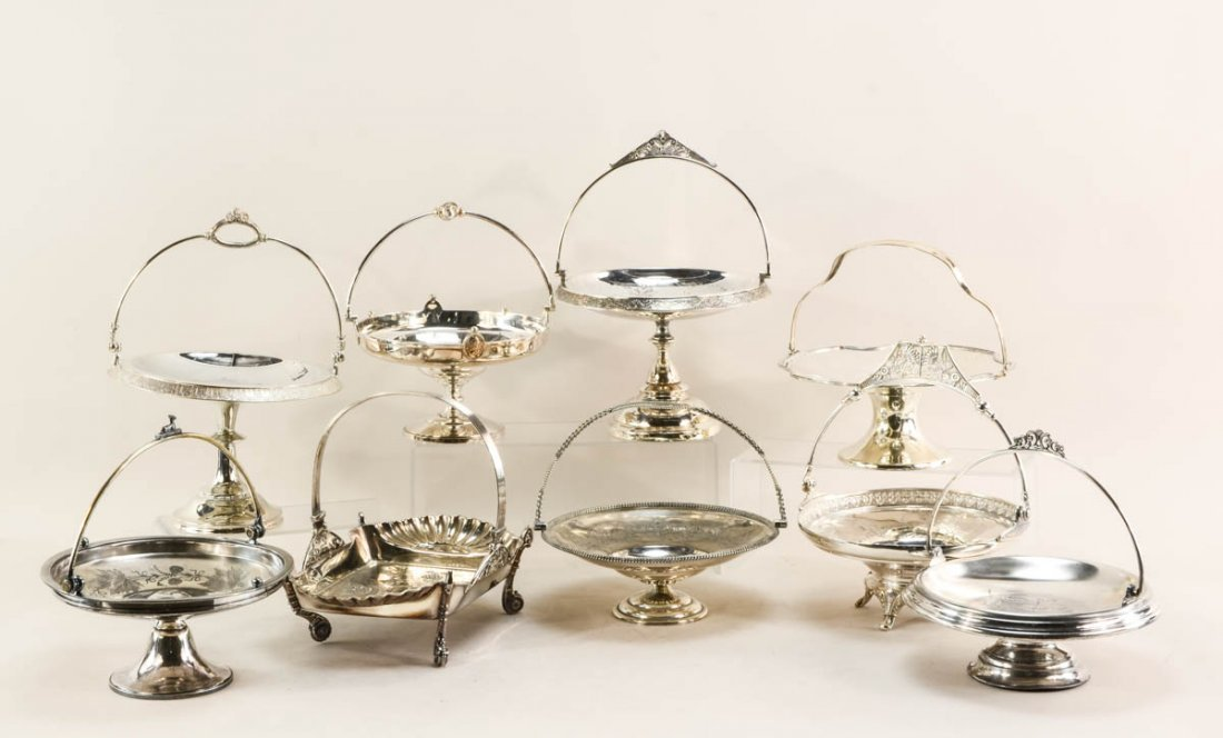 9 Silver plate tazzas or brides baskets
