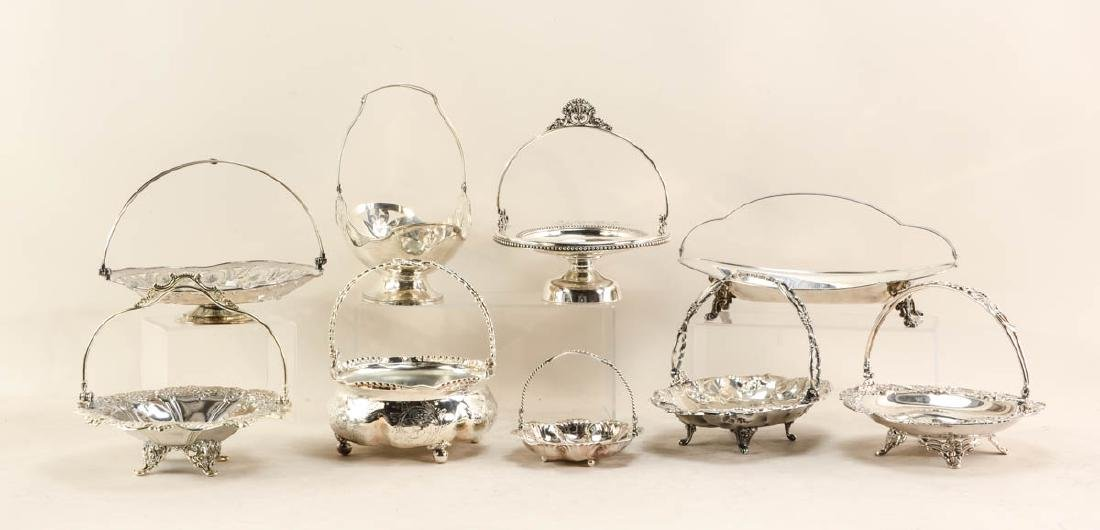 Nine Silverplate Handled Baskets