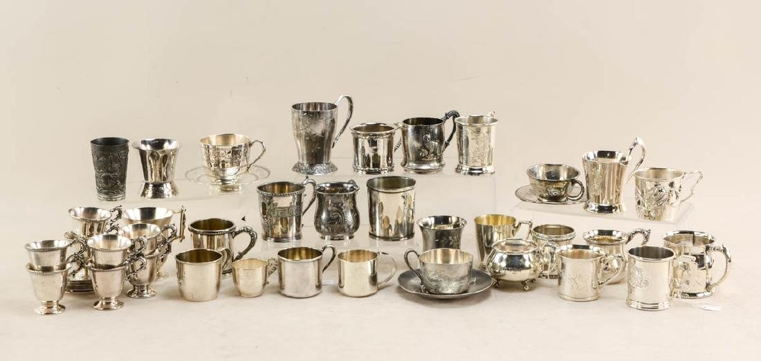 Silver plate cups and beakers