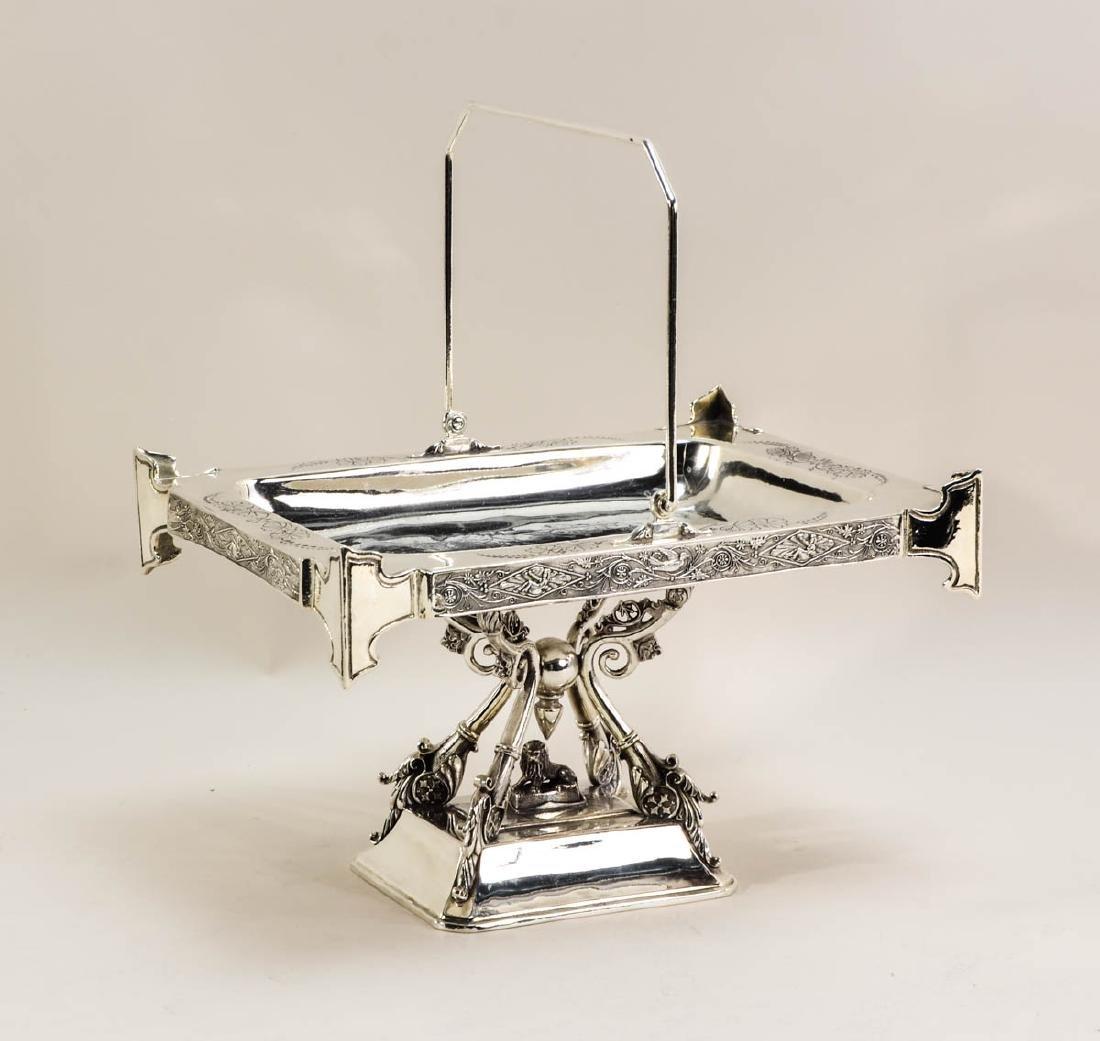Aesthetic Silver Plate Centerpiece Basket