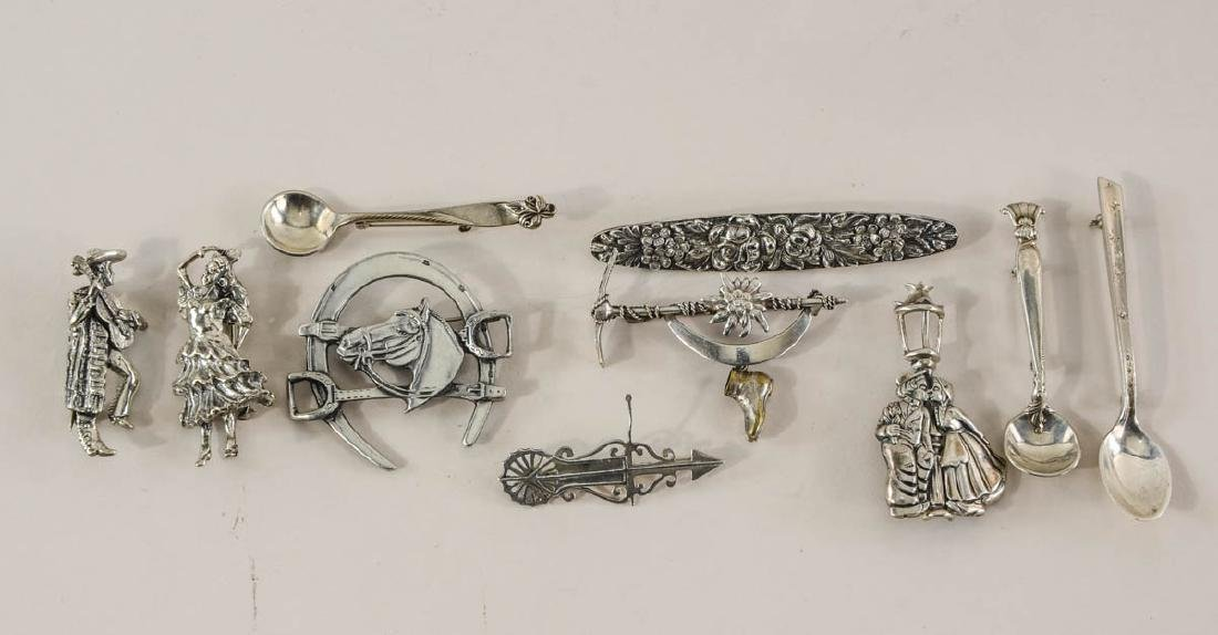 Group of Sterling Silver Pins