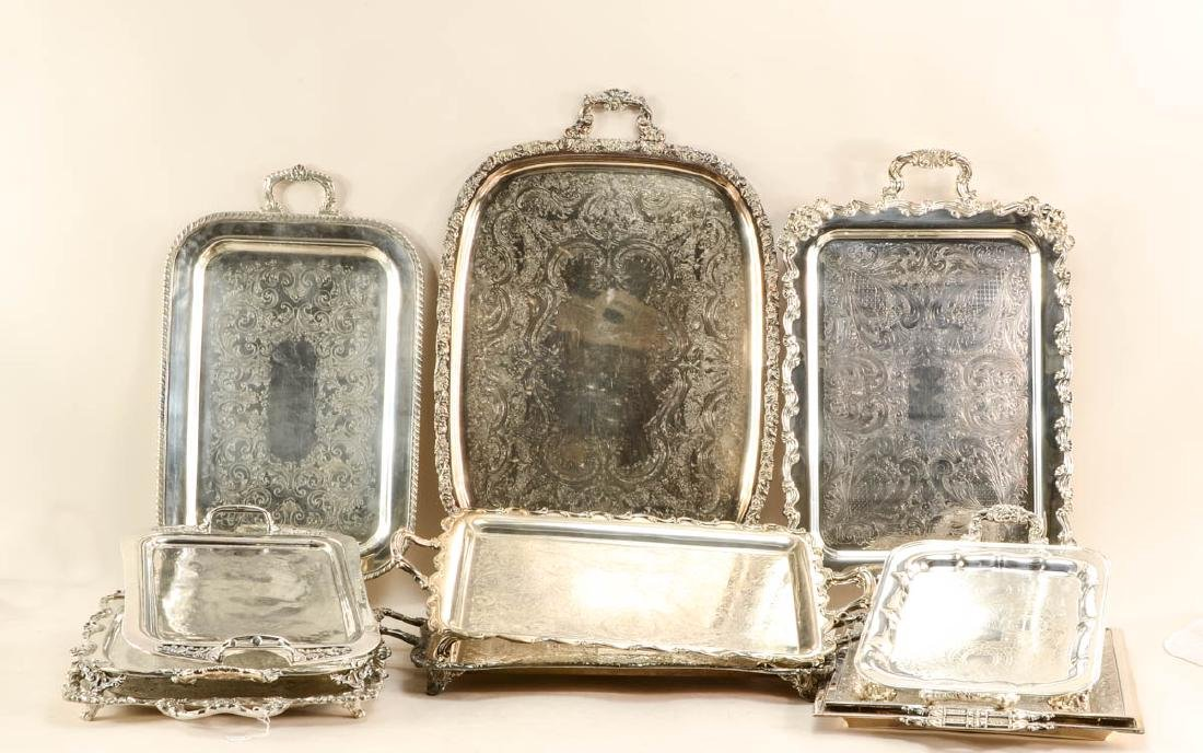Twelve large silver plate trays