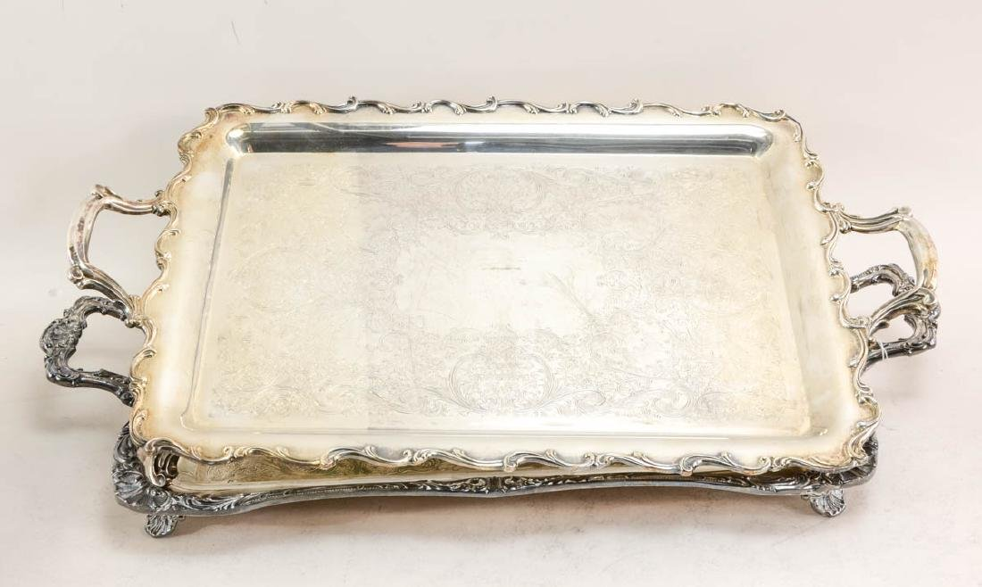 Twelve large silver plate trays - 2