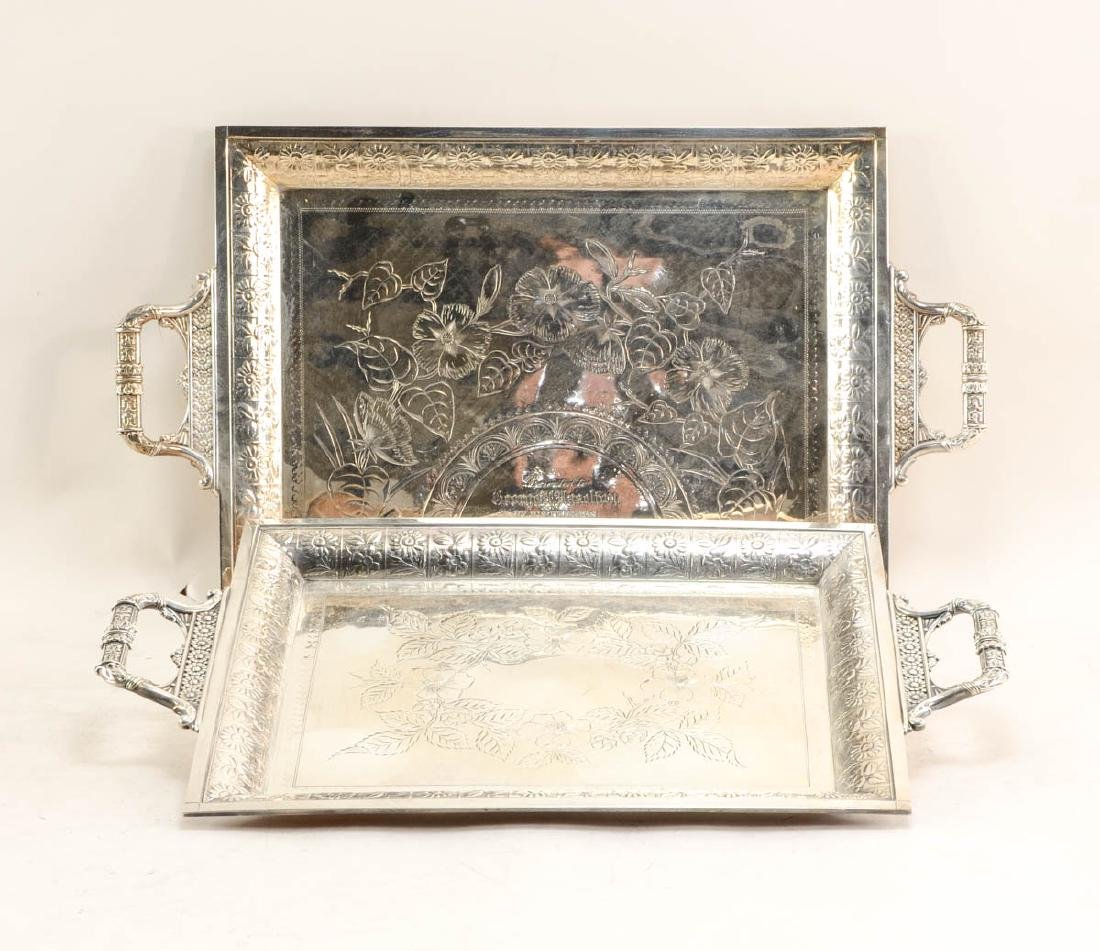 Twelve large silver plate trays - 3
