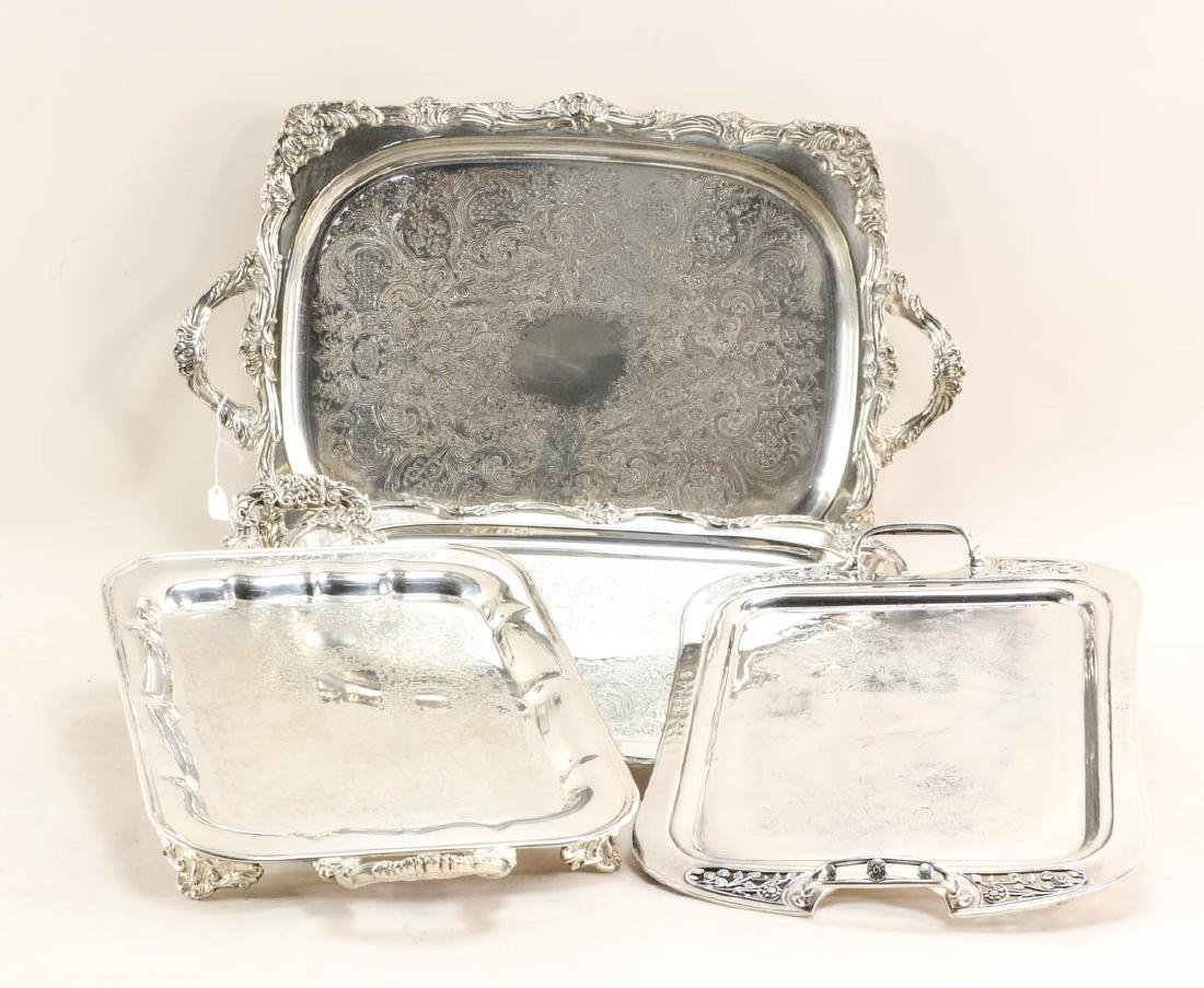 Twelve large silver plate trays - 4