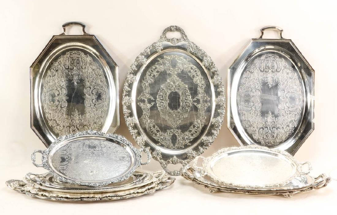13 handled silver plate trays