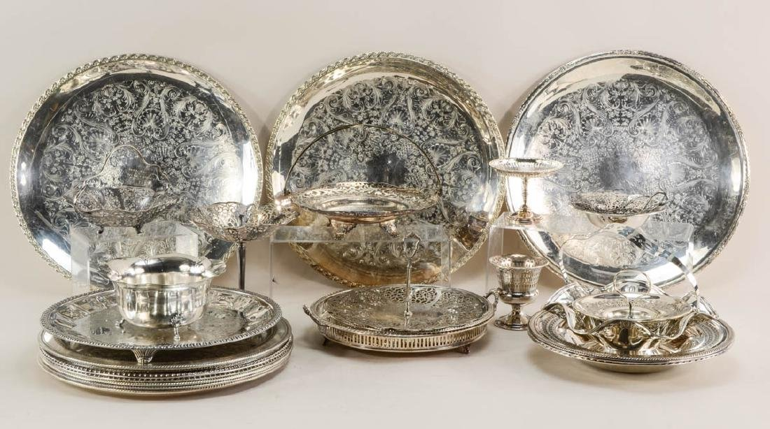 Large lot of silver plate serving items