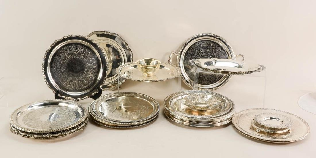 Large lot of silver plate serving items - 2