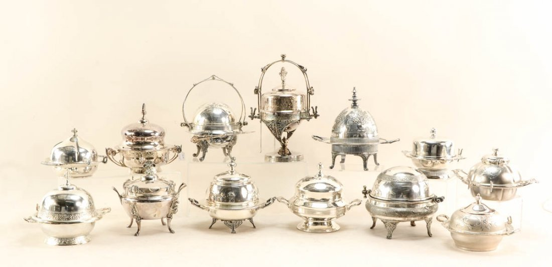 17 Mid Century silver plate butter dishes