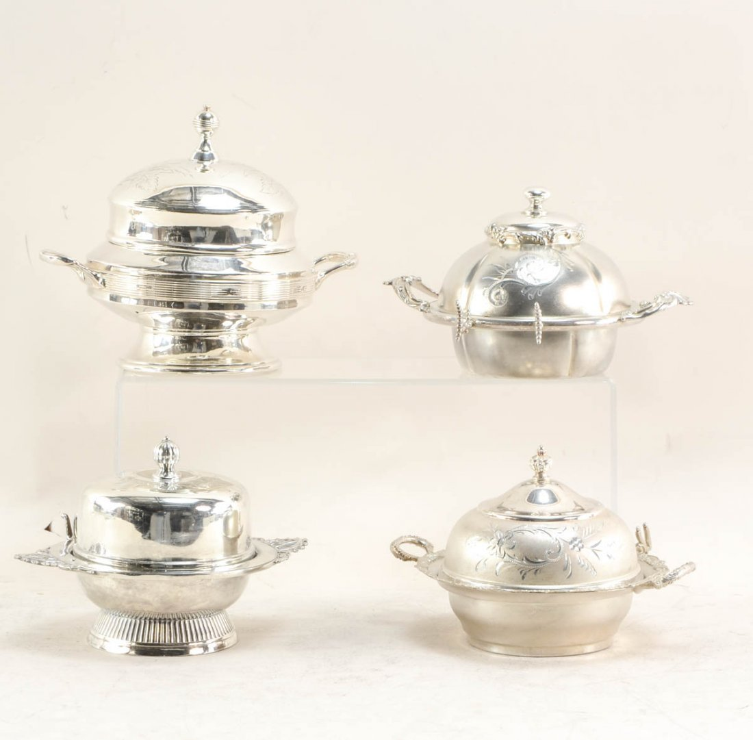 17 Mid Century silver plate butter dishes - 4
