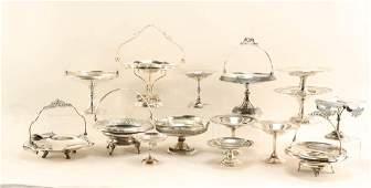 23 silver plate tazzas