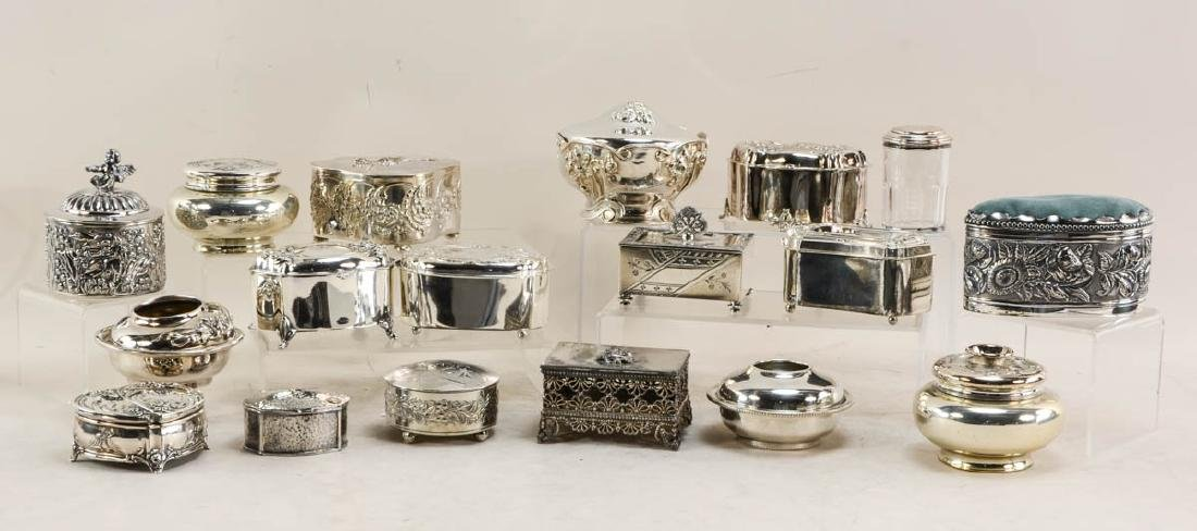 19 silver plate boxes