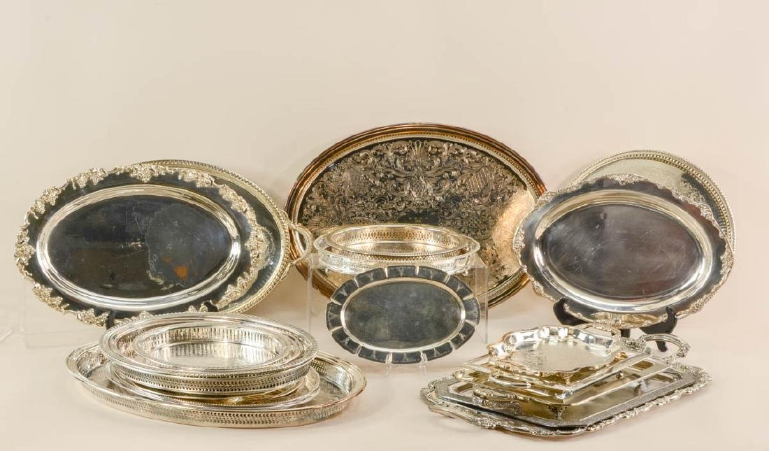 21 silver plate trays
