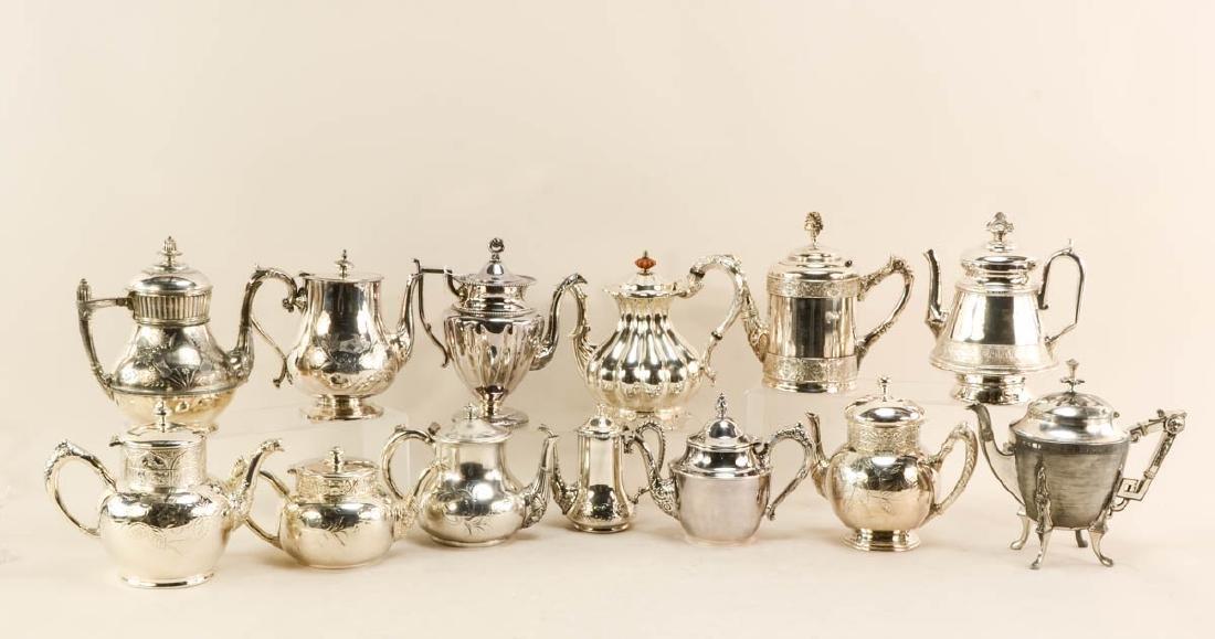 24 silver plate tea pots