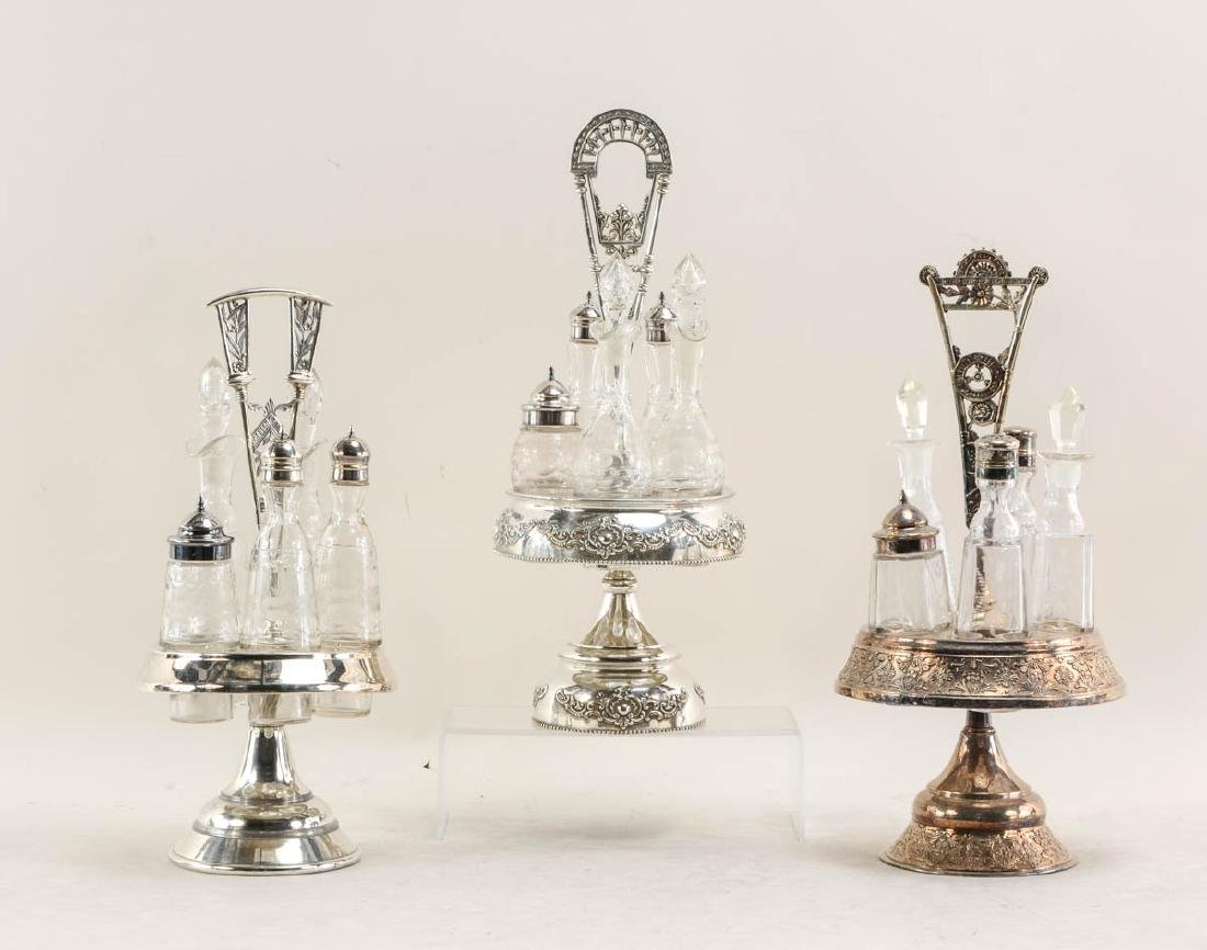 Three Victorian Caster /  Cruet Sets