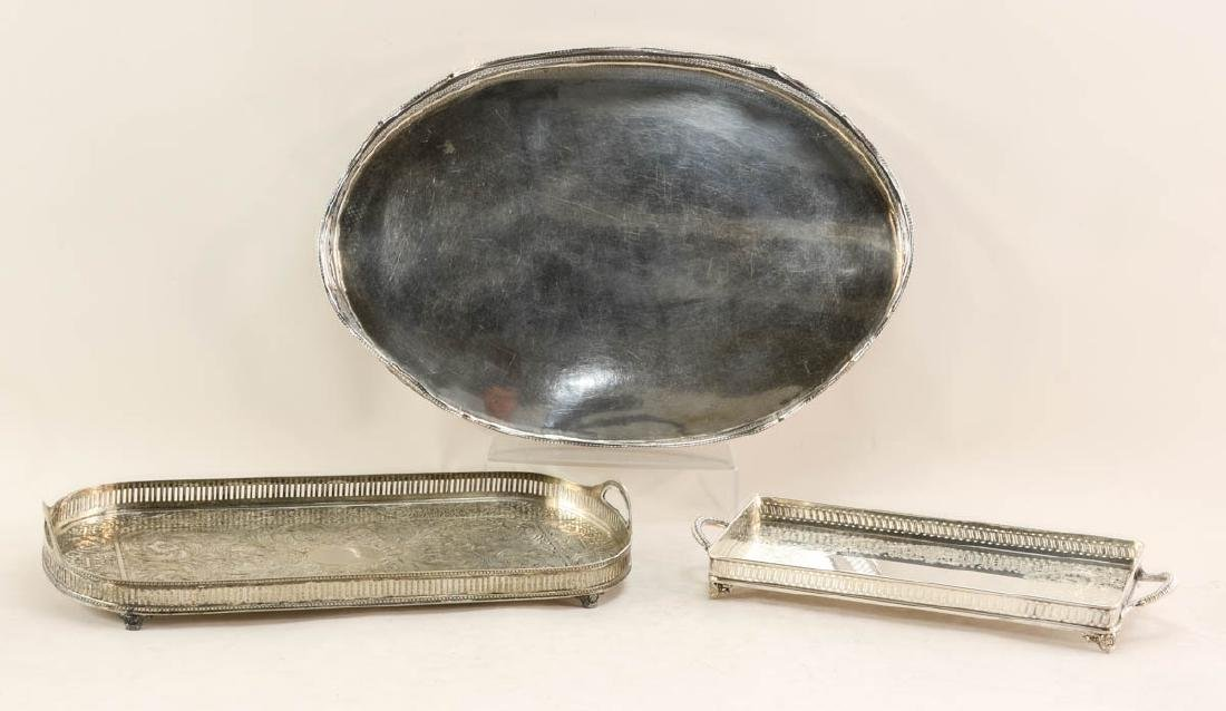 Three Silverplate Gallery Trays