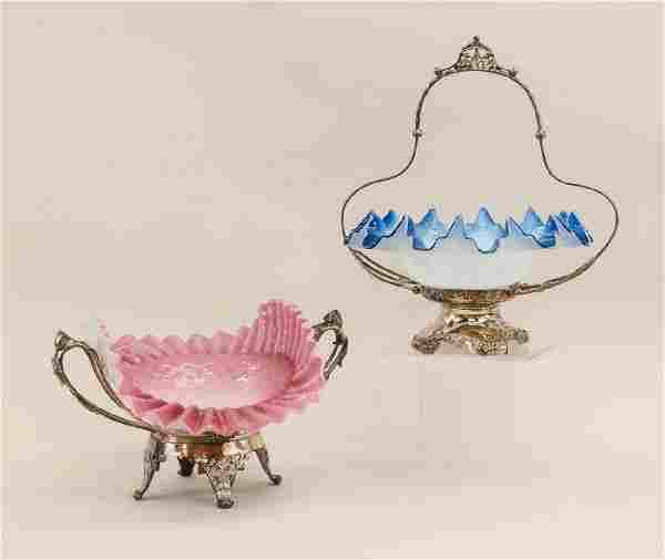 Two Victorian Silverplate brides baskets