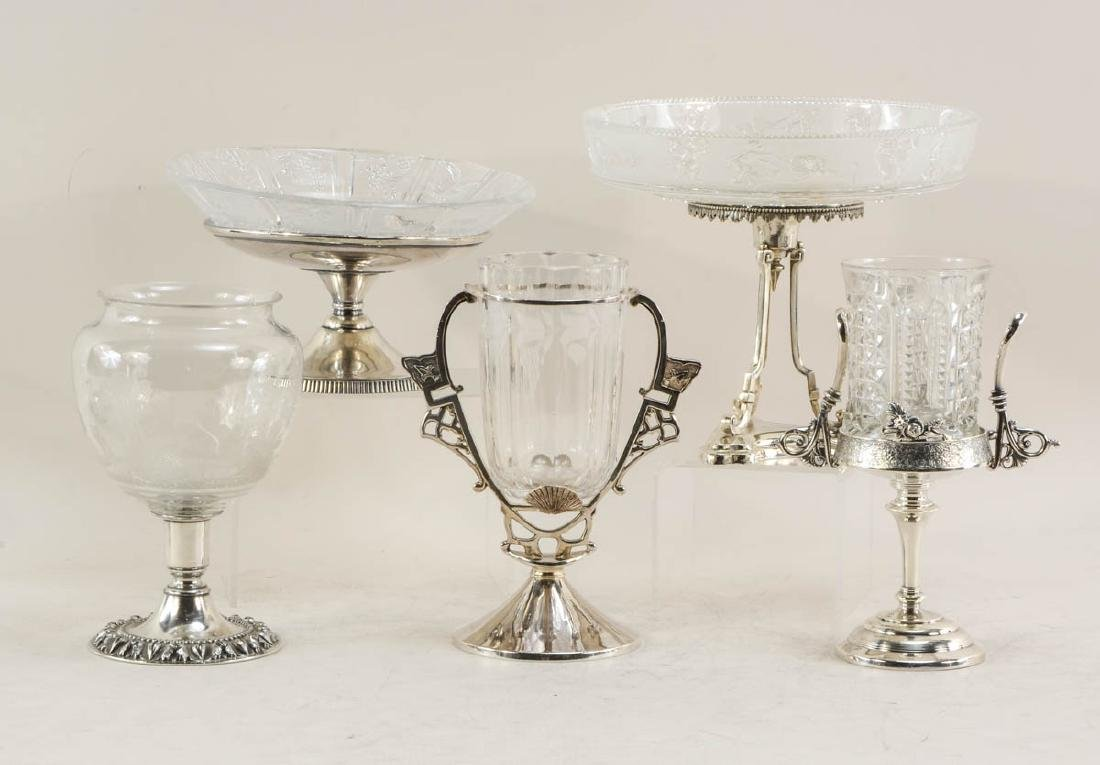 Five Pcs. Silverplate and Glass