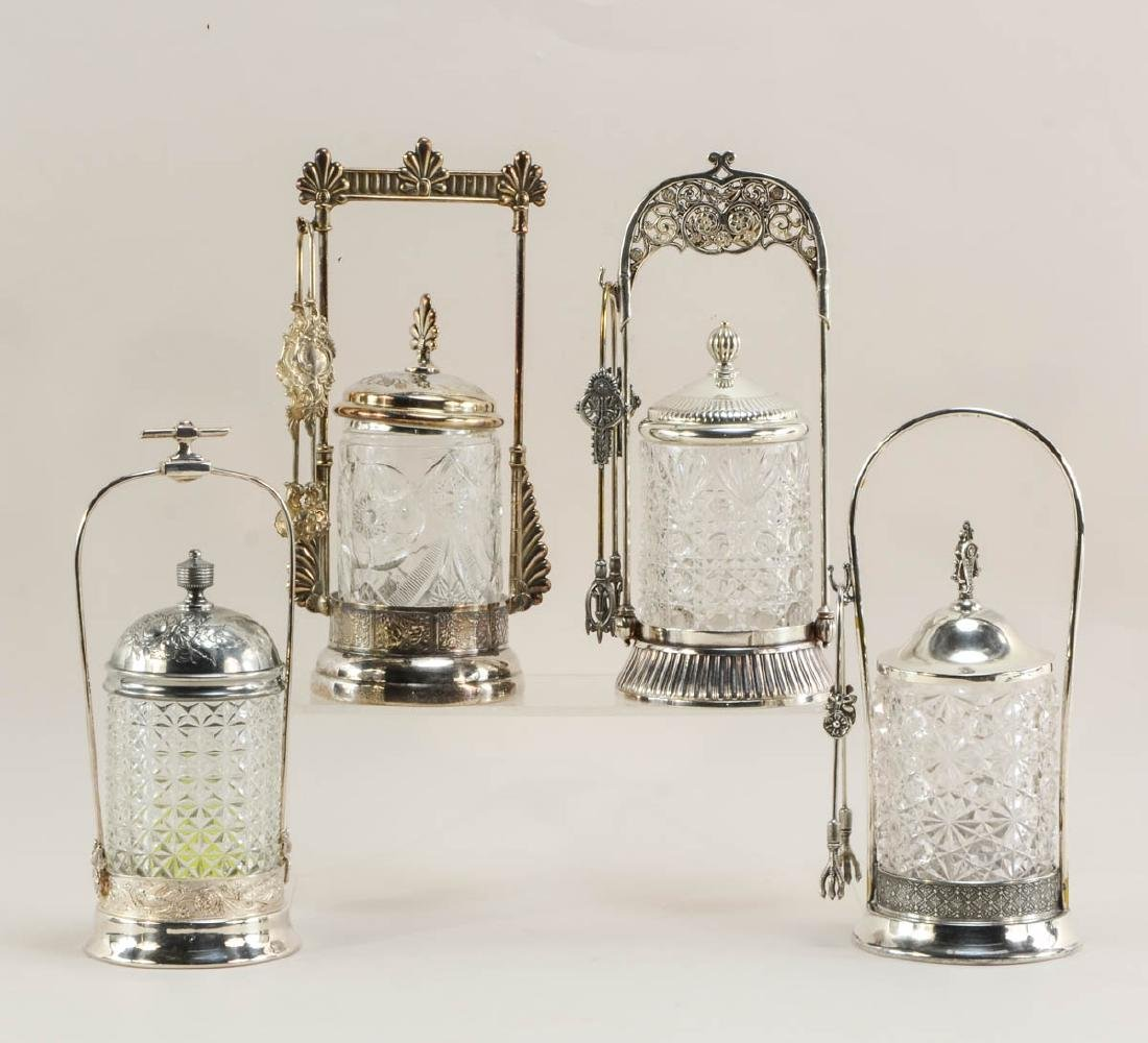 Four Victorian Silverplate Pickle Casters