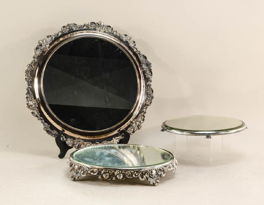 Three Silverplate Mirrored Plateaus