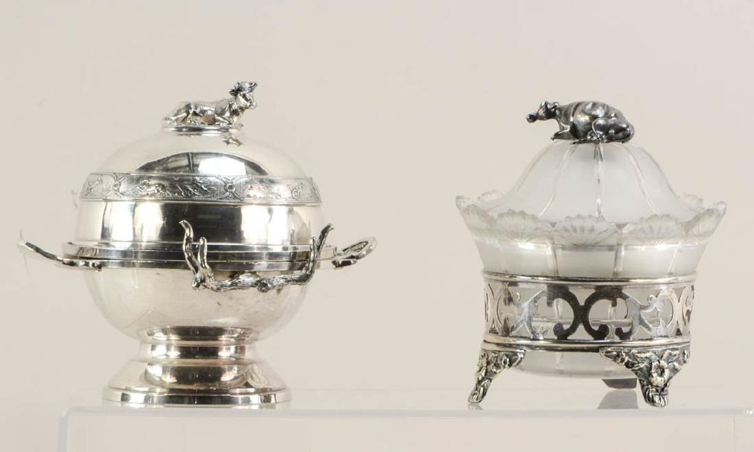 Two Figural Cow Butter Dishes
