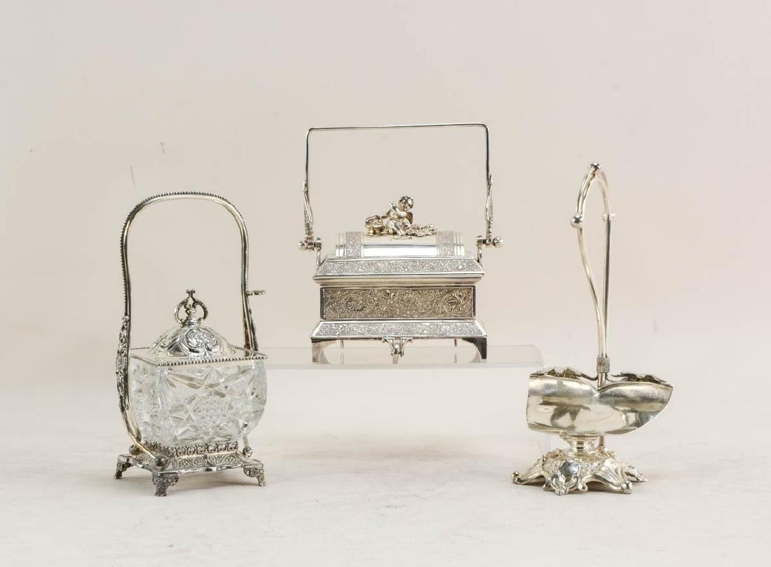 Three pcs Antique Silverplate