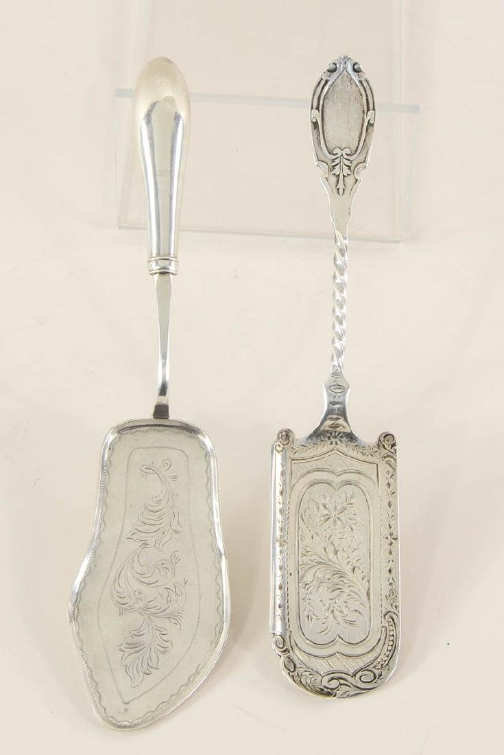 Two Antique Coin Silver Fish Servers
