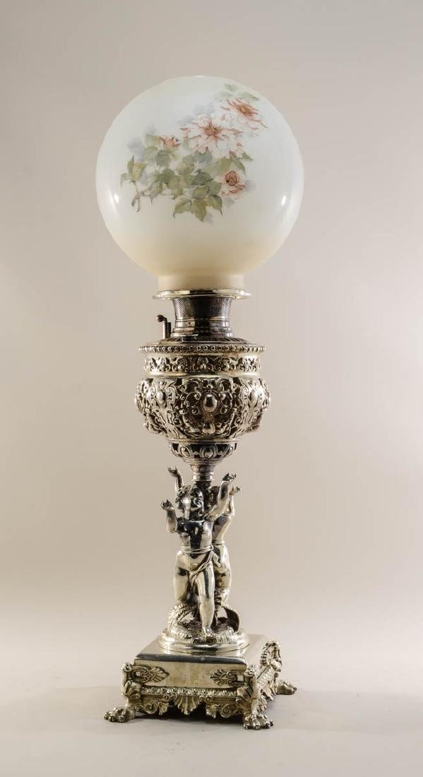 Victorian Silver Plate Banquet Lamp
