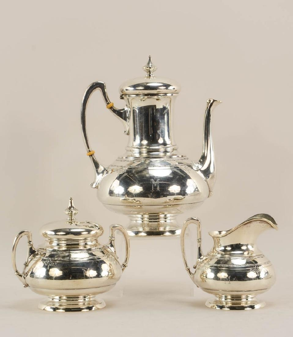 Towle Old Lace 3 pc Sterling Tea Set
