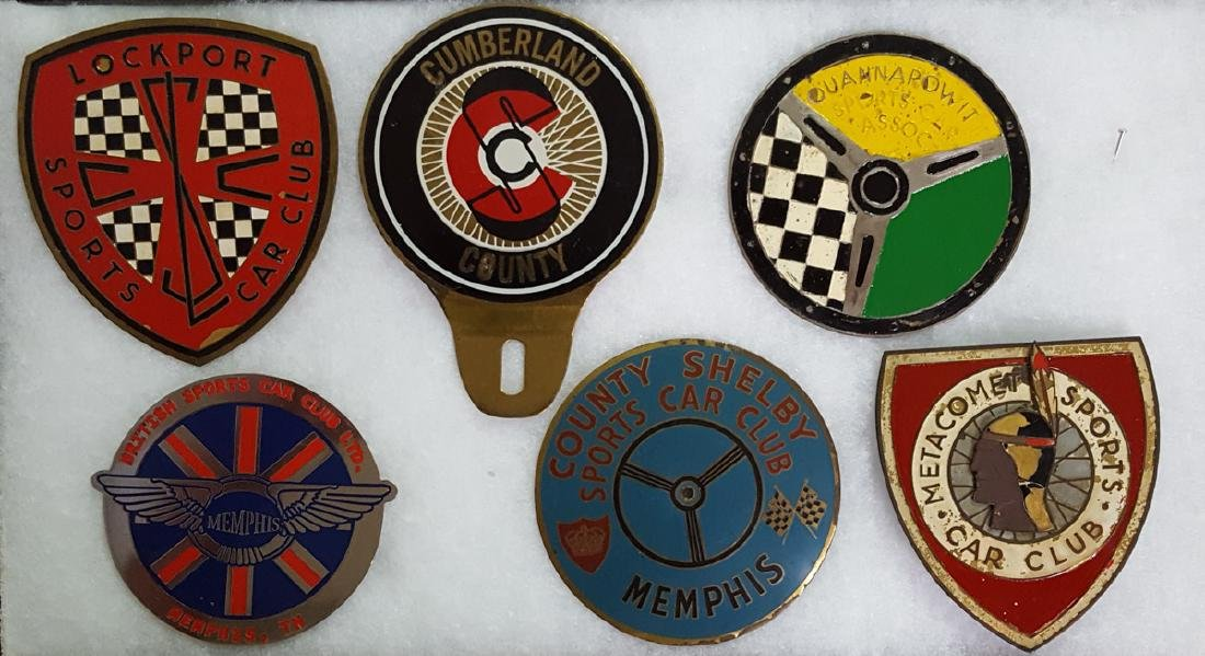 Six sports car club badges, TN, NY, MD etc