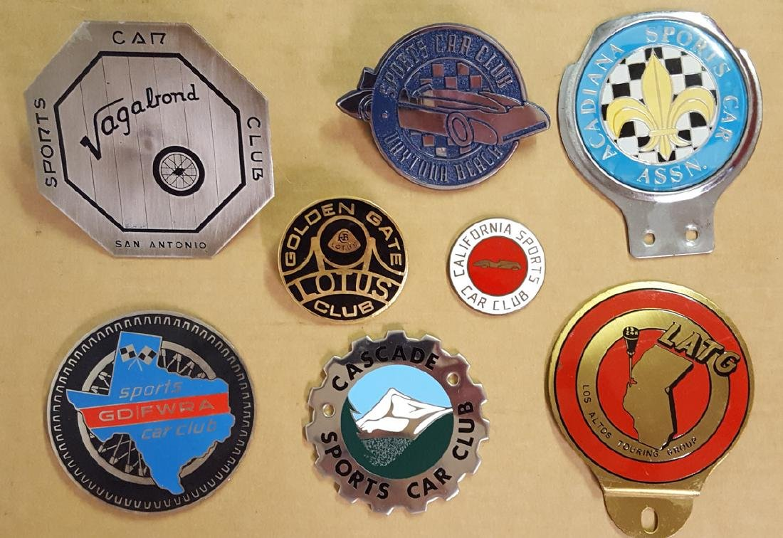 Eight sports car club badges, CA, FL, TX, etc