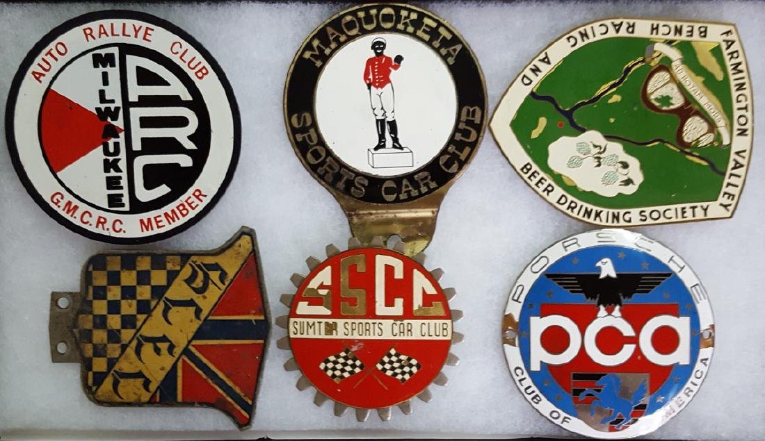 Six 1950's-60's sports car club badges