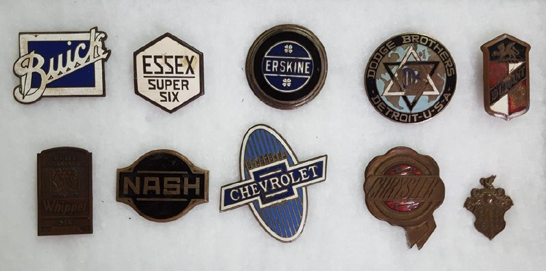 Ten car radiator badges