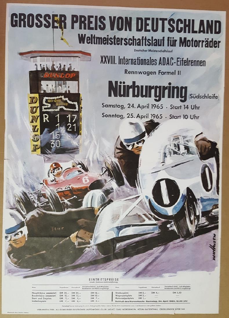 1965 German GP original poster, 23 x 33