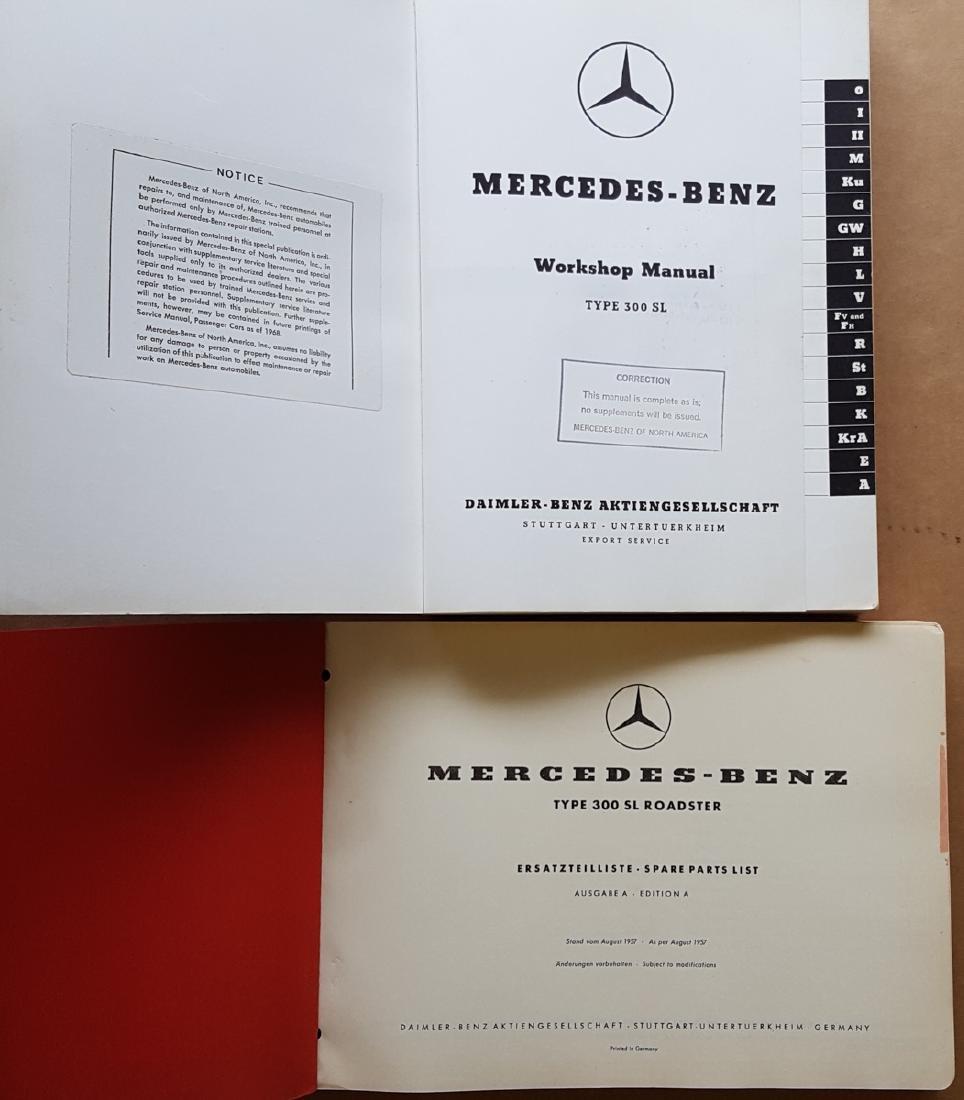 Merc Benz 300SL Parts & Workshop books - 2