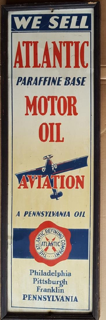 Atlantic Motor Oil wood framed sign