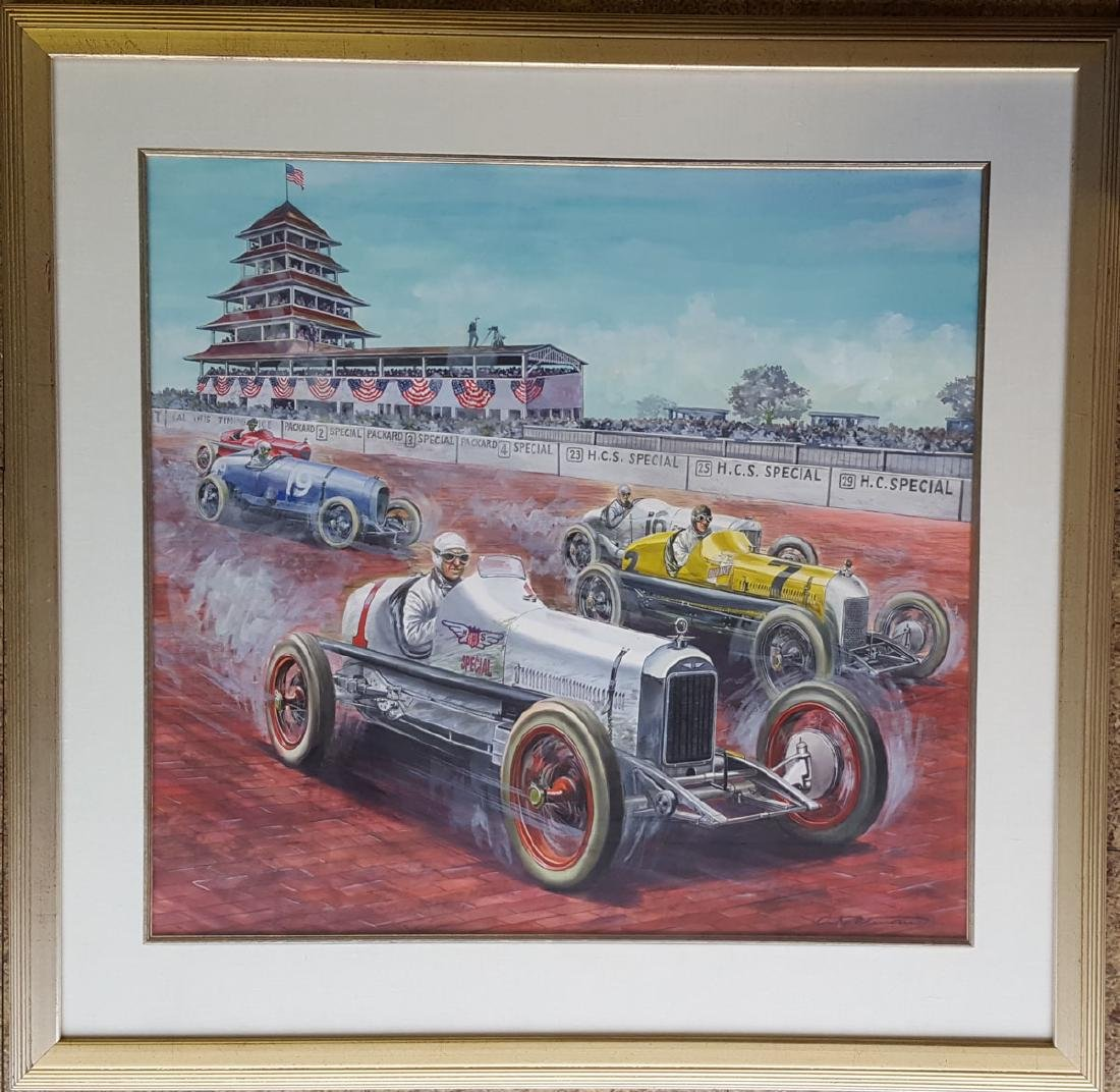 Original guache artwork of 1923 INDY 500