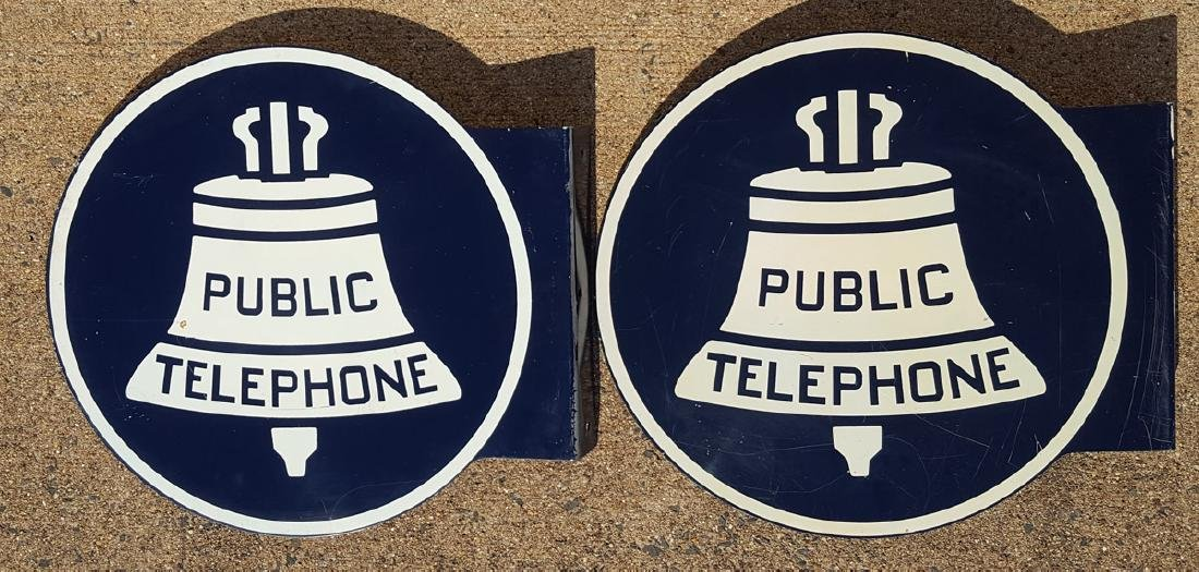 Two Public Telephone flange signs