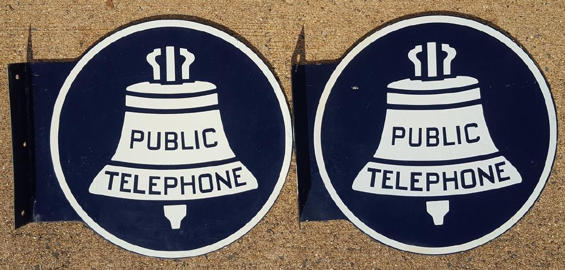 Two Public Telephone flange signs - 2