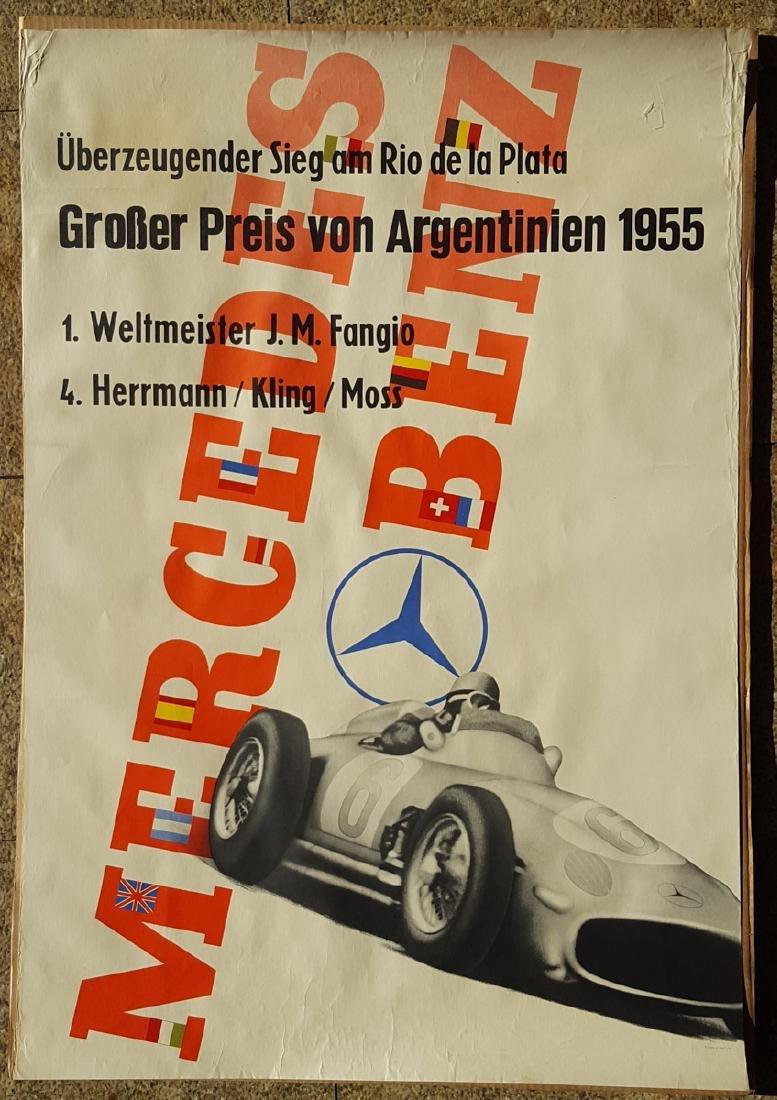Original 1955 Merc Benz large size poster