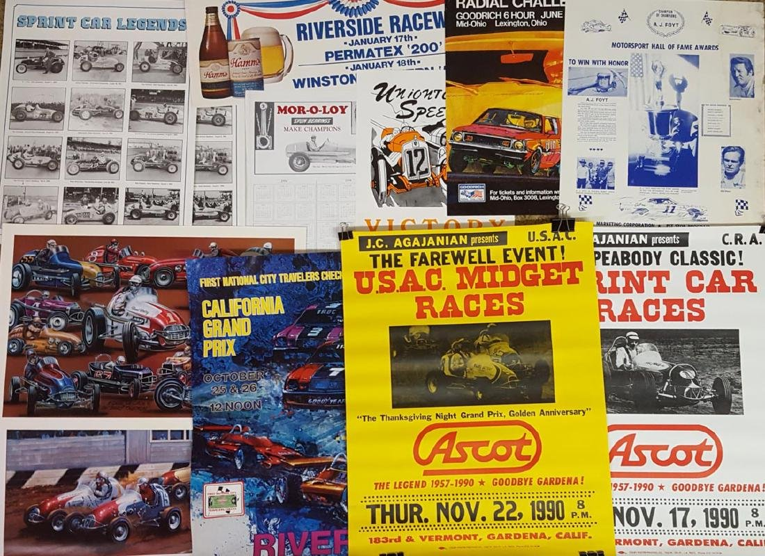 Mixed lot of racing posters and prints