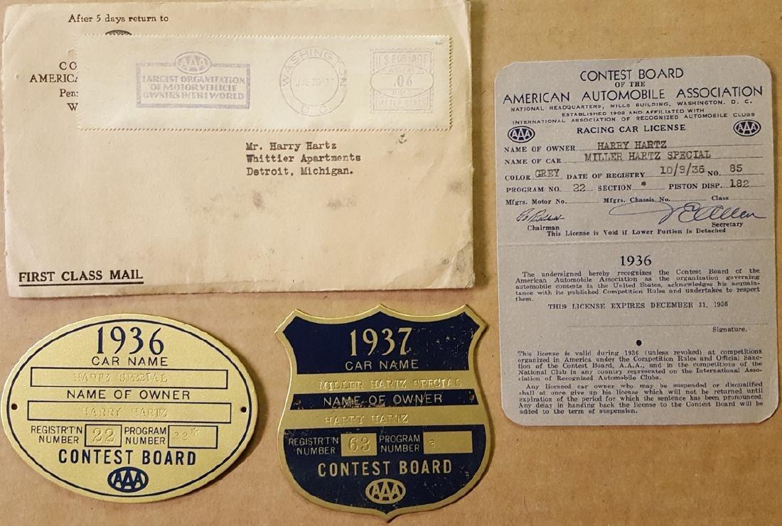 1936 Harry Hartz racing license, etc