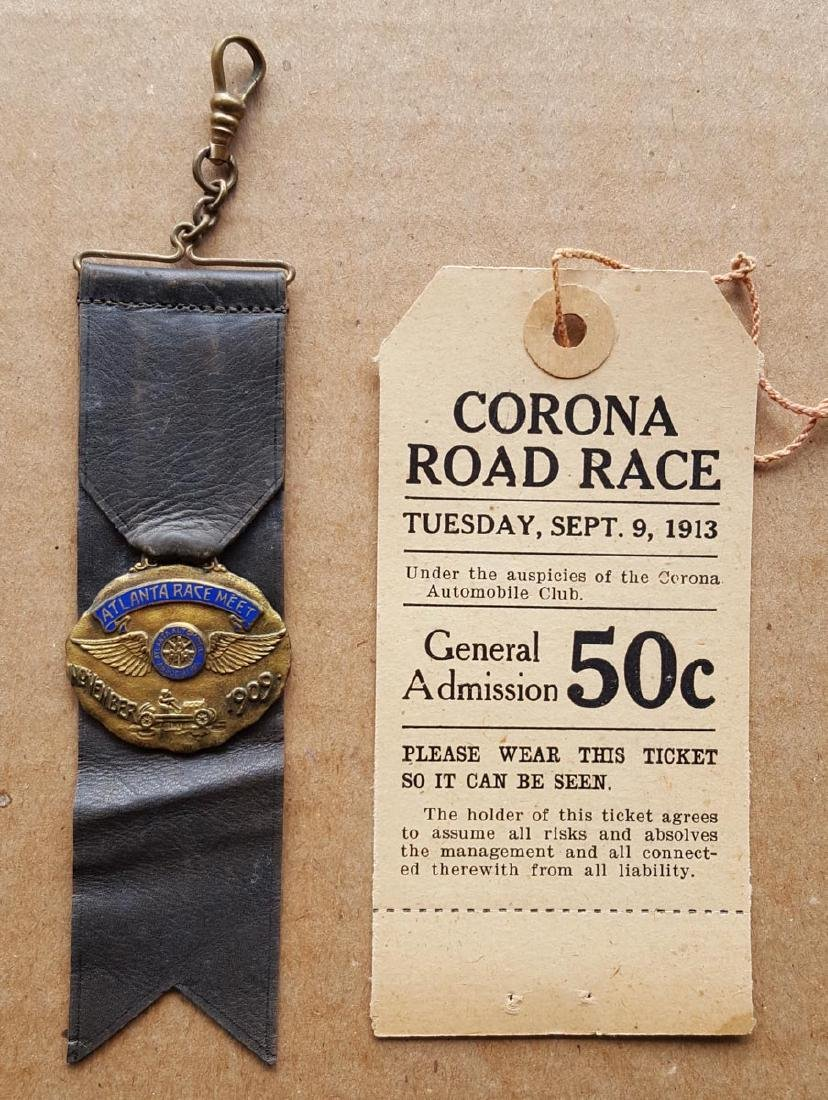 Early race fob ribbon and ticket
