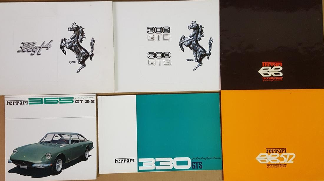 Six Ferrari brochures