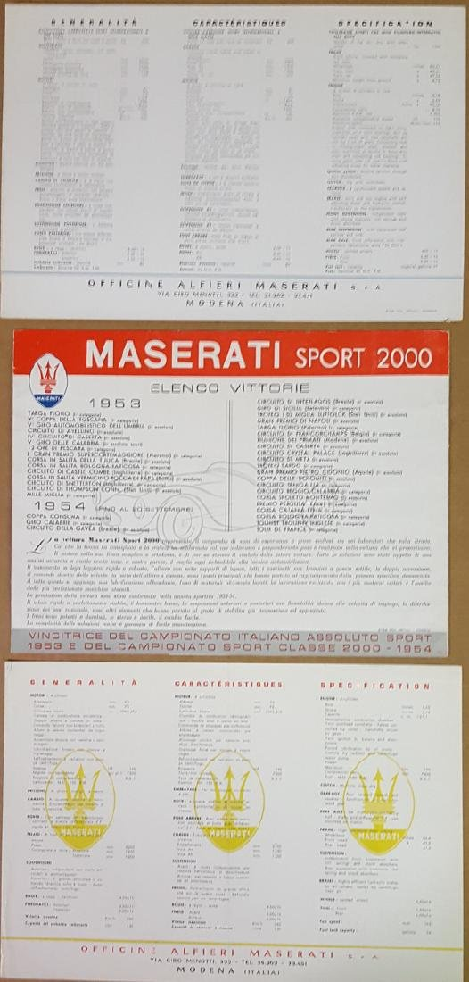 Maserati competition car brochures - 2