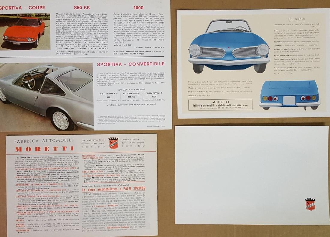 1950's - 60's Moretti brochures - 2