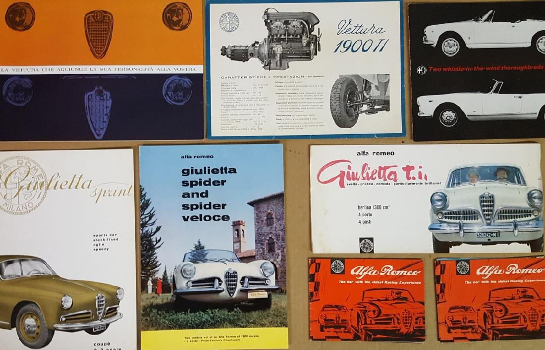 Eight 1950's-60's Alfa brochures