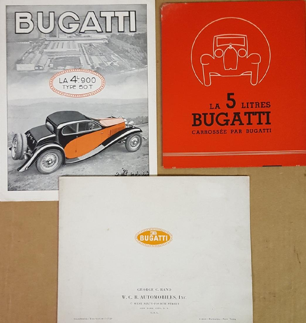 Three Bugatti brochures