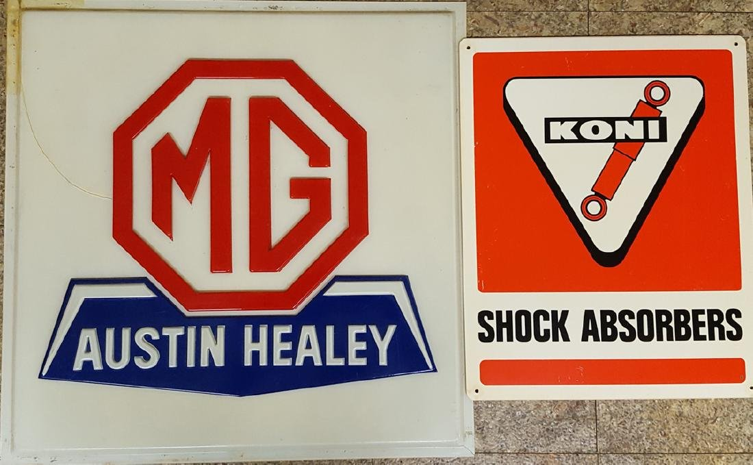 Four, MG, Healey, Castrol, Koni signs