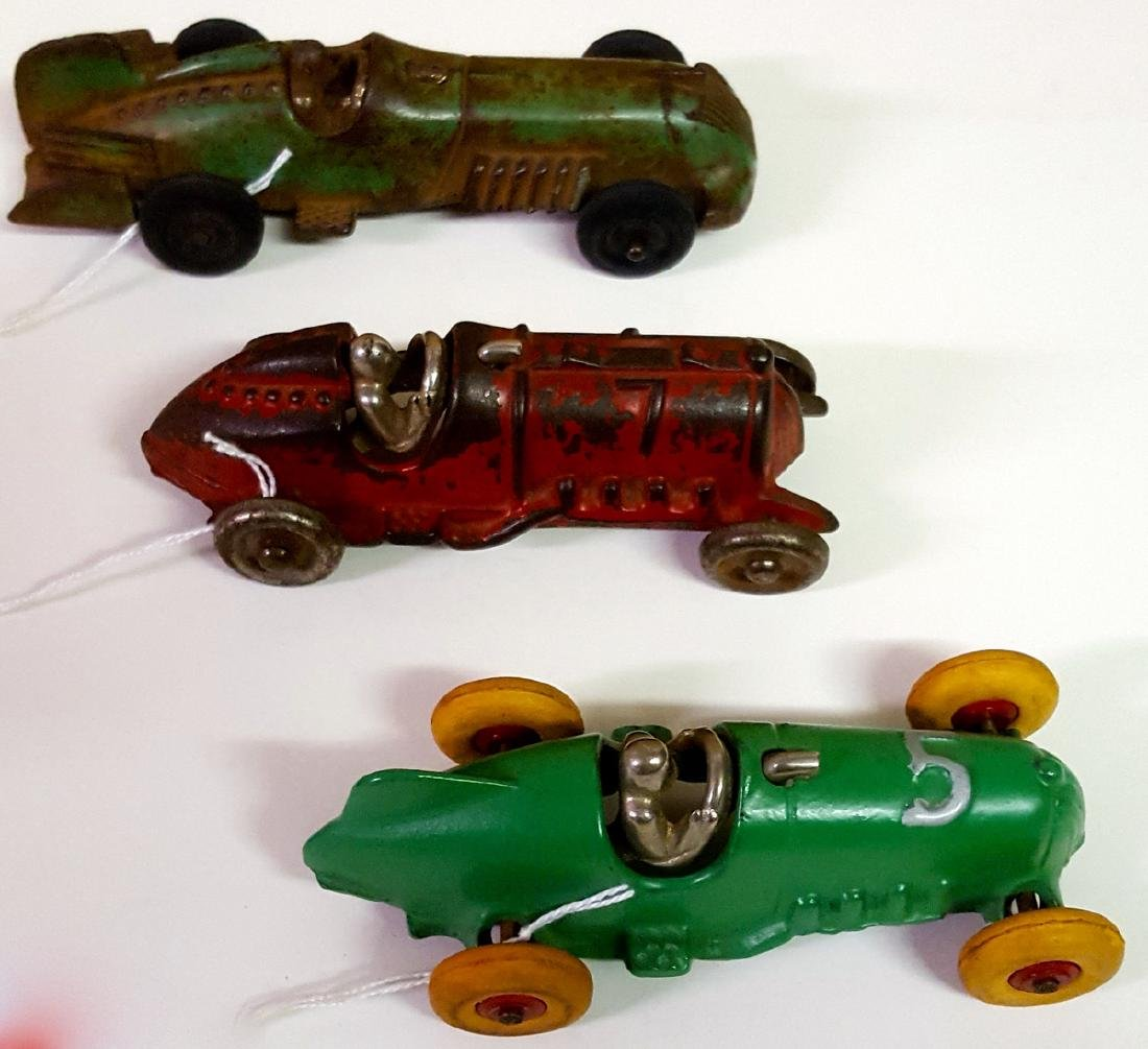 Three toy Hubley cast iron racers